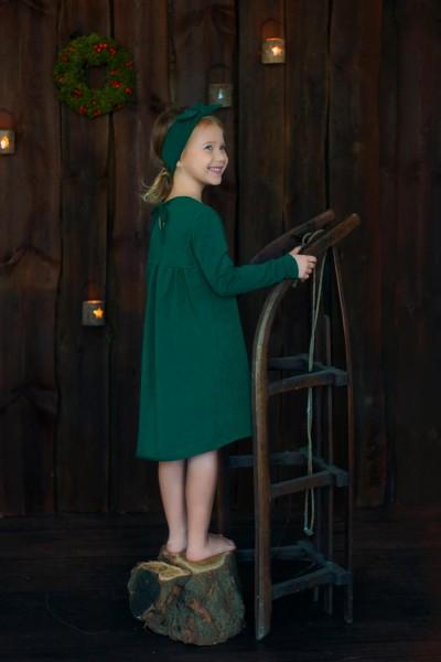 sukienka z marsczczonym tyłem CHRISTMAS edition butelkowa zieleń