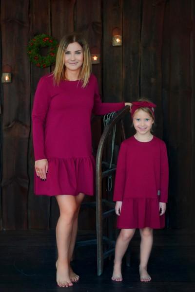 sukienka z falbaną CHRISTMAS edition bordo