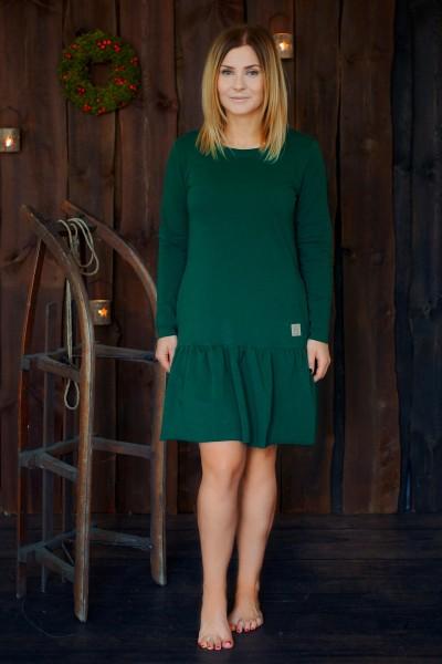 sukienka z falbaną damska CHRISTMAS edition butelkowa zieleń