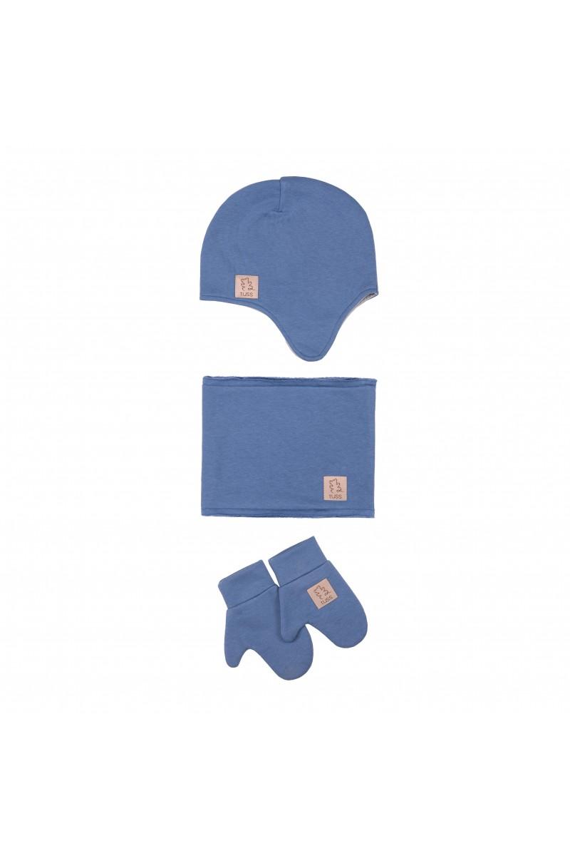 1c6bb73d015c8a zestaw WINTER czapka + komin + rękawiczki dusty blue - Tuss