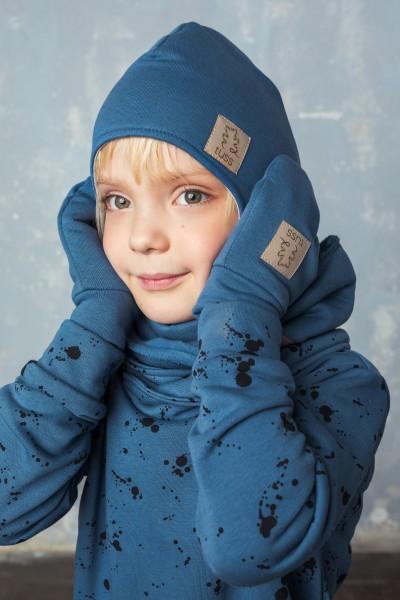zestaw WINTER czapka + komin + rękawiczki dusty blue