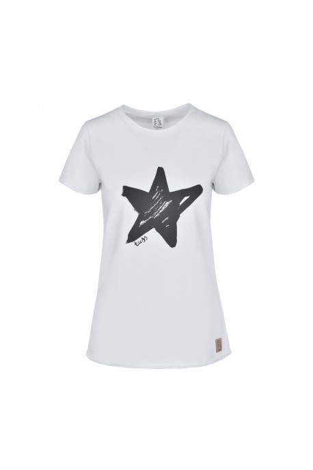 T-shirt STAR damski white