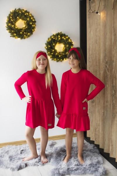 Sukienka damska OVER FRILL red
