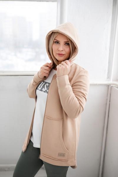 Bluzo-kurtka damska ZIP beige