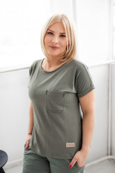 T-shirt damski POCKET olive