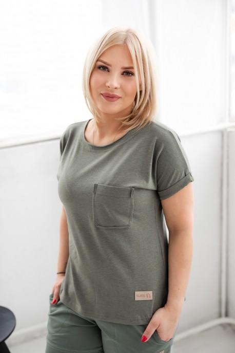 T-shirt damski POCKET olive