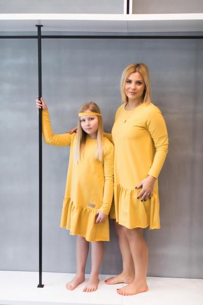 Sukienka damska OVER FRILL light yellow