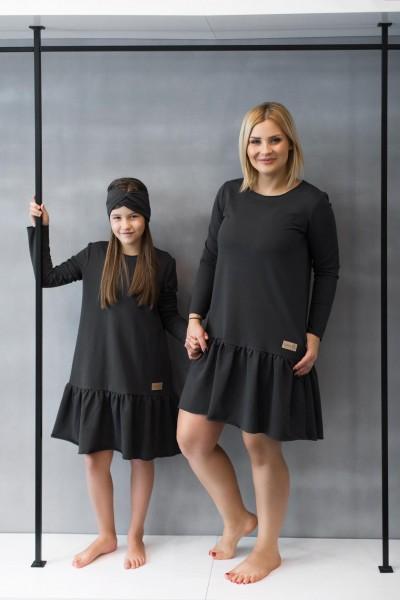 Sukienka damska OVER FRILL graphite
