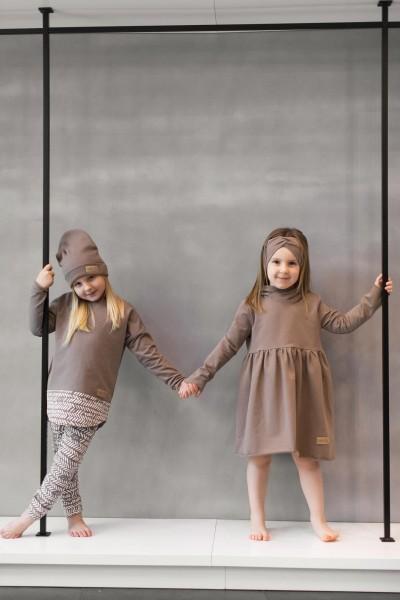 Sukienka dziecięca HOODIE light brown